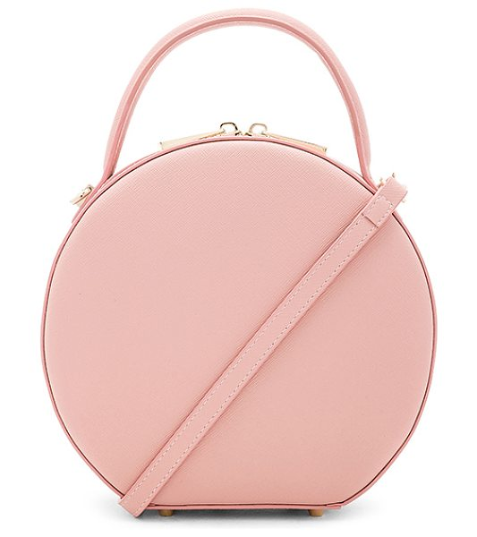 "the daily edited Circle Bag in pink - ""Leather exterior with fabric lining. Double zip around..."