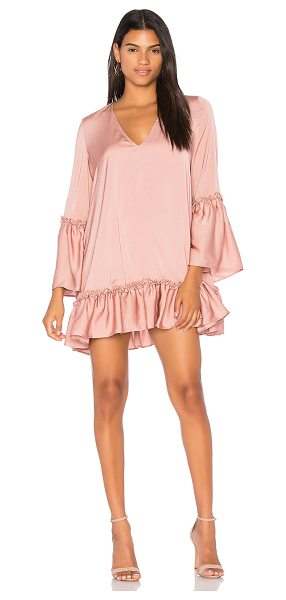 The Fifth Label Banjo Long Sleeve Dress in blush - 100% poly. Hand wash cold. Unlined. Ruffle trim....