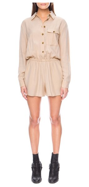 The Fifth Label born free romper in sand - A lightweight woven romper with a solo flap-patch pocket...