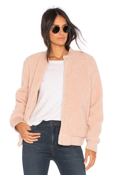 The Fifth Label Jamie Bomber Jacket in blush - Self: 100% polyLining: 65% poly 35% cottonRib: 94%...