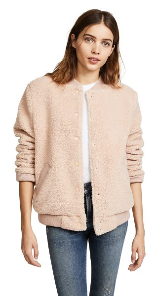 The Fifth Label jamie bomber jacket in dusty blush - A classic The Fifth Label bomber jacket in soft sherpa....