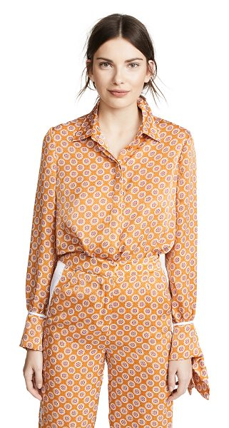 The Fifth Label jordan shirt in amber geo - Fabric: Satin Tie details at wrists Print pattern...
