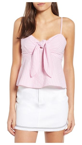 The Fifth Label parcel stripe tie front tank in blossom with white - Wavering stripes add warm-weather style and rich texture...