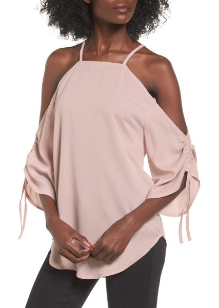 The Fifth Label the future dream ruched cold shoulder top in antique rose - A cold-shoulder neckline and ruched statement sleeves...