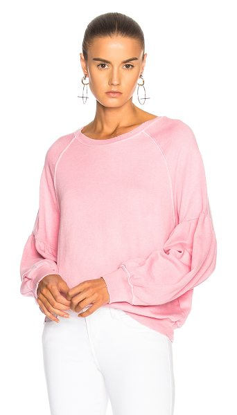 The Great Bishop Sleeve Sweatshirt in pink - 100% cotton.  Made in USA.  Machine wash.  Distressed...