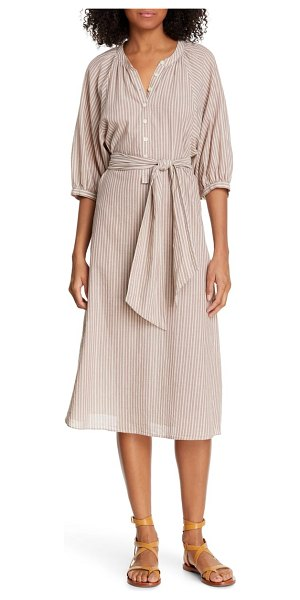 The Great dance hall midi dress in brown - This leno-striped dobby dress is timeless in its simple...