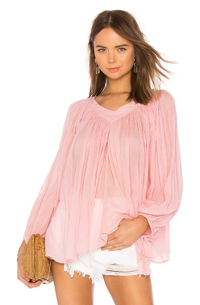 The Great The Artist Blouse in pink - 100% cotton. Ruched detail. Self-tie sleeve openings...
