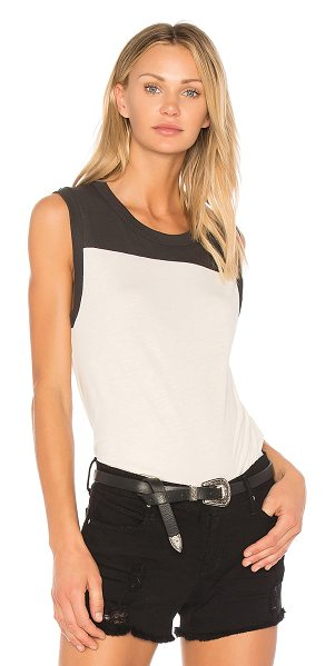 The Great The Athletic Tank in cream - 100% cotton. Slub knit fabric. Rib knit edges....