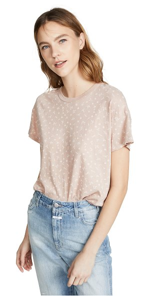 The Great the boxy crew tee in blush ditsy floral - Fabric: Jersey Distressed edges Floral print...
