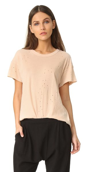 The Great the boxy crew tee in pale pink - Tiny, allover holes add time-worn character to this...
