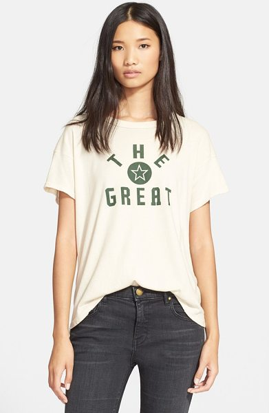 The Great the boxy crewneck cotton tee in vanilla/ green star print - A screenprinted logo tee designed with a boxy cut and...