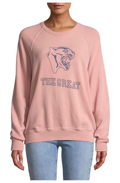 "The Great The College Sweatshirt w/ Varsity Graphic in pink/blue - The Great ""The College Sweatshirt"" with mascot logo..."
