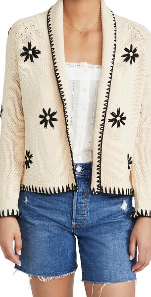 The Great the daisy lodge cardigan in cream with black