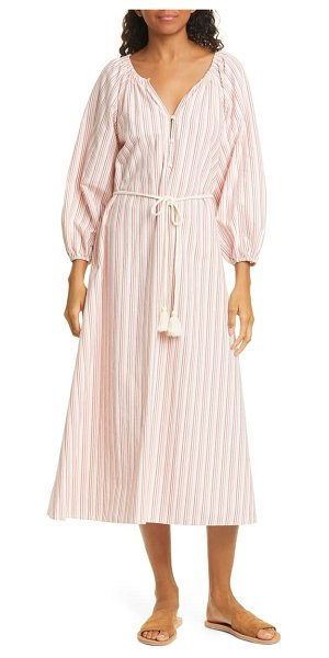 The Great the derby stripe long sleeve midi dress in coral