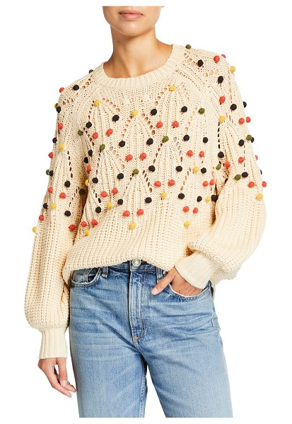 The Great The Frond Pullover with Pompoms in cream w multi bob