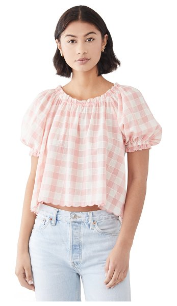 The Great the garland top in pink/cream