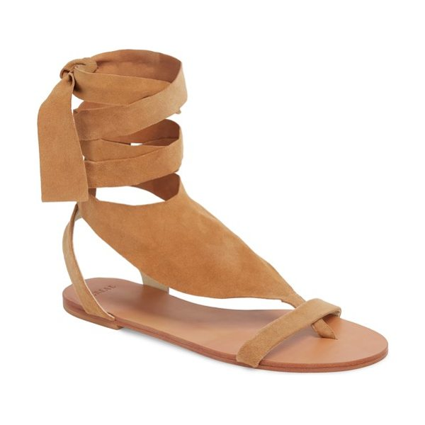 The Great scarf tie sandal in brown - A lush, wraparound ankle tie lends standout style to a...