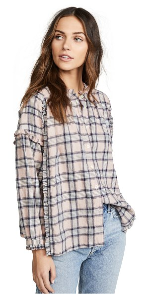 The Great the handsome button down in pink/navy plaid - Fabric: Flannel Ruffled detailing Button cuffs Plaid...