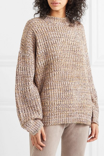 The Great the marled oversized mélange chunky-knit sweater in beige
