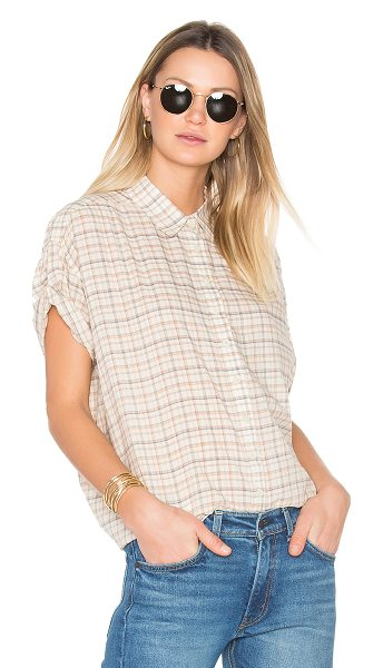 The Great The Roll Sleeve Big Shirt in beige - Cotton blend. Button front closures. Roll tabbed...