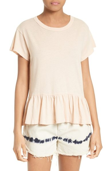 The Great the ruffle tee in pale pink - A cool play on masculine and feminine styles, a crewneck...