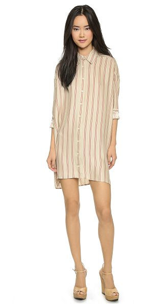 The Great The shirtdress in cream/red - A menswear inspired shirtdress, made feminine in luxe...
