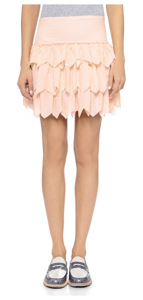 The Great The tutu skirt in peach - Layered, zigzag cut ruffles give volume to this silk THE...