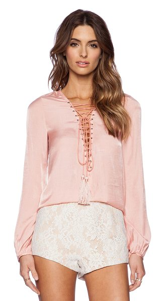 THE JETSET DIARIES Delta Shirt in peach - Cotton blend. Lace-up front with tie closure. Tassel...