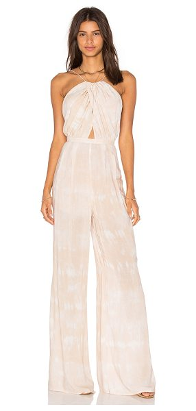 THE JETSET DIARIES Kingston Jumpsuit in beige - 100% rayon. Hand wash cold. Waist tie. Back hidden...