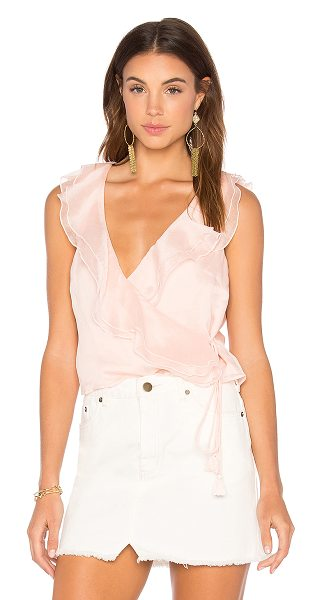 THE JETSET DIARIES Lanza Wrap Top in blush - Self: 100% polyLining: 100% rayon. Hand wash cold. Wrap...