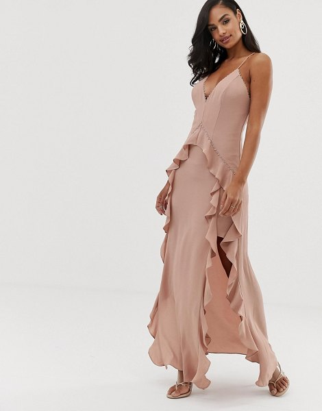 THE JETSET DIARIES light my fire ruffle maxi dress in corenude