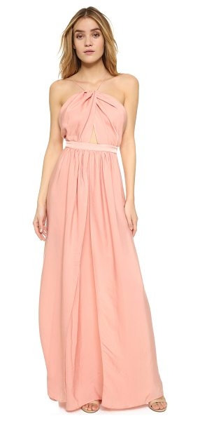 THE JETSET DIARIES Lotus maxi dress in blush - Draped panels of luxe charmeuse compose the skirt of...