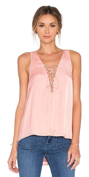 THE JETSET DIARIES Lotus Tank in blush - Rayon blend. Hand wash cold. Lace-up front with tie...