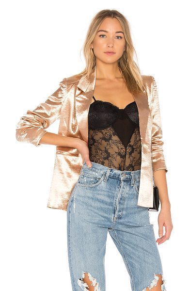 THE JETSET DIARIES Mirabella Blazer in metallic gold - Self: 100% polyLining: 100% rayon. Dry clean only. Hook...
