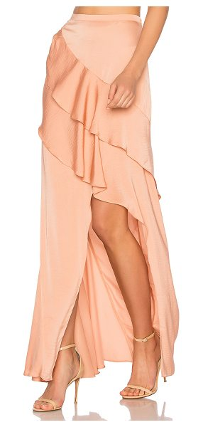 "THE JETSET DIARIES Omara Maxi Skirt in coral - ""100% poly. Hand wash. Unlined. Tiered ruffled..."