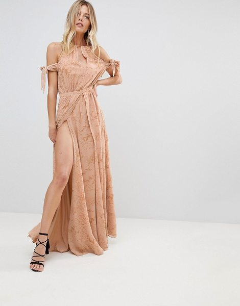 THE JETSET DIARIES sierra lace thigh split cold shoulder maxi dress-pink in pink