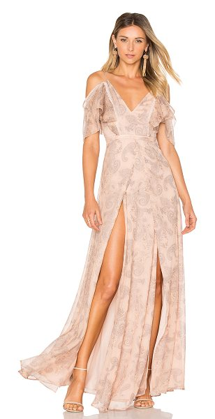 THE JETSET DIARIES Sublime Illusion Maxi Dress in beige - Self: 100% polyLining: 100% rayon. Hand wash cold. Fully...