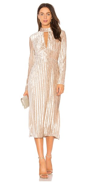 THE JETSET DIARIES Veronica Midi Dress in beige - Poly blend. Hand wash cold. Fully lined. Front keyhole...