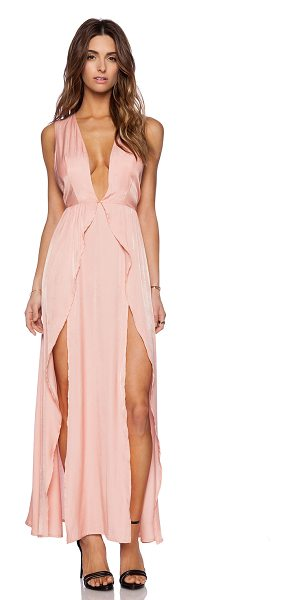 THE JETSET DIARIES Wavelength maxi dress in peach - Rayon blend. Unlined. Belted waist. Fringe accent....