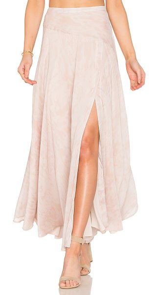 "THE JETSET DIARIES Zambia Maxi Skirt in blush - ""Poly blend. Hand wash cold. Fully lined. Side slit with..."