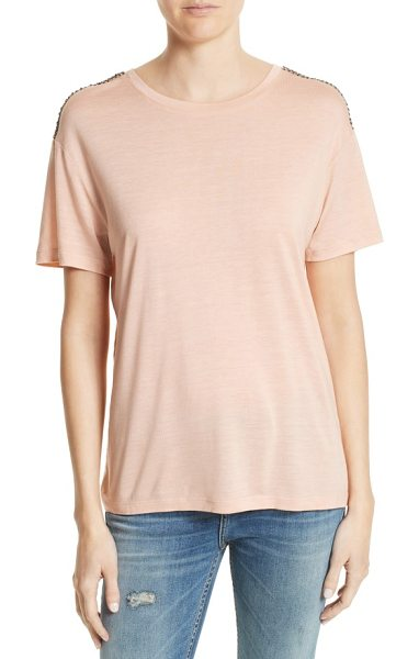 The Kooples beaded tee in pink - Beaded latticework runs from shoulder to shoulder atop...