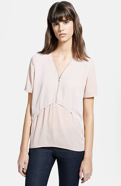 The Kooples chiffon & crepe blouse in beige - Soft volume defines a pale crepe blouse overlaid by a...