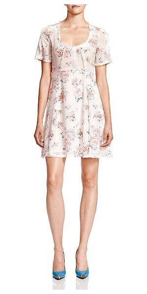 The Kooples Floral Silk Babydoll Dress in ecru - The Kooples Floral Silk Babydoll Dress-Women