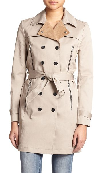 The Kooples Leather-collar stretch-cotton trench coat in beige - The classic trench gets an edgy makeover, thanks to luxe...