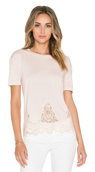 The Kooples Short sleeved jersey t shirt with lace in blush - Cotton blend. Lace trim. Jersey knit fabric. TKOP-WS10....