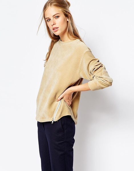 The Laden Showroom X among cord shell sweat with zip detail in camel - Sweatshirt by The Laden Showroom Soft-touch, ribbed cord...