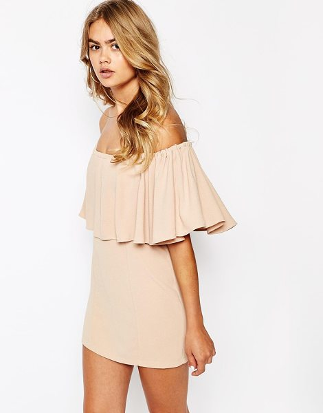 The Laden Showroom X house of pearl frill bandeau dress in nude - Evening dress by The Laden Showroom Lightweight,...