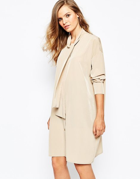 The Laden Showroom X mirror mirror pussy bow shirt dress in champagne - Casual dress by The Laden Showroom Lightweight woven...