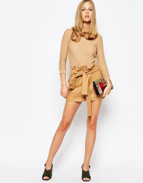 The Laden Showroom X re: dream hipster mini skirt with tie waist in tan - Mini skirt by The Laden Showroom, Lined textured fabric,...