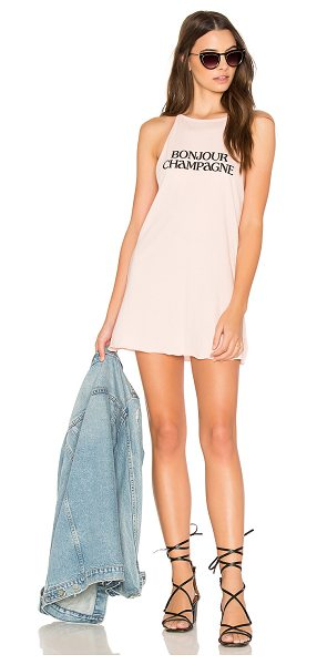 The Laundry Room Bonjour Champagne Tank Dress in shell - 60% cotton 40% poly. Unlined. Jersey knit fabric. Front...